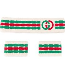 gucci double g headband and wrist cuffs - neutrals