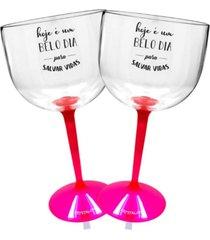 2 taã§as gin com base rosa acrãlico personalizada enfermagem - transparente - dafiti