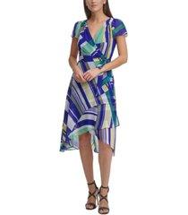 dkny printed flutter-sleeve faux-wrap dress