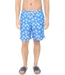 bermuda água shorts co quadrada mergulho azul