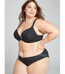 lane bryant women's cotton hipster panty with lace-trimmed back 26/28 black