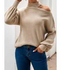 suéter de manga larga con hombros descubiertos recortado