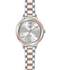 reloj para dama elegante q&q qb89j407y bicolor