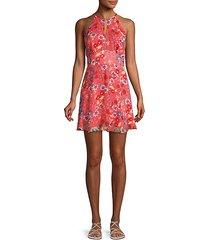 floral silk mini dress