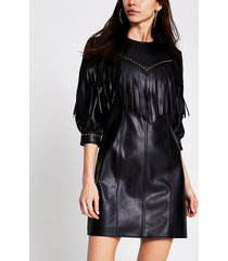 river island womens black faux leather fringe mini shift dress