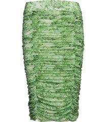 printed mesh knälång kjol grön ganni