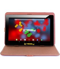 "10.1"" 1280 x 800 ips screen quad core 2gb ram tablet 32gb android 10 with brown leather case"