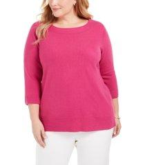 karen scott plus size ballet neckline sweater, created for macy's