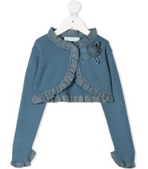 abel & lula cropped cotton-cashmere mix cardigan - blue