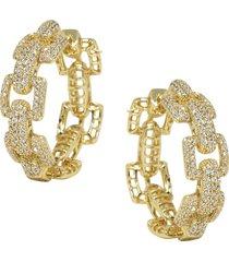 women's ettika crystal chain link hoop earrings