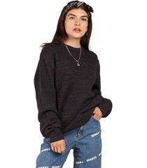 sweater punto cuello redondo con puño azul sioux
