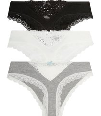 women's honeydew intimates 3-pack willow hipster panties, size large - black