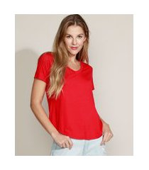 camiseta feminina básica manga curta decote v vermelha