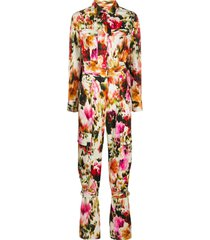 msgm floral abstract-print strap-detail jumpsuit - neutrals