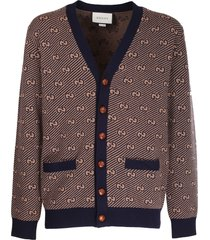 gucci blue and camel cardigan