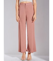 yoins rosa zip diseño de cintura alta pantalones