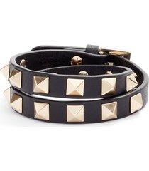 women's valentino rockstud leather double wrap bracelet