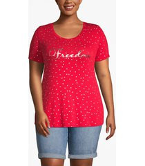 lane bryant women's freedom foil graphic tee 18/20 ribbon red