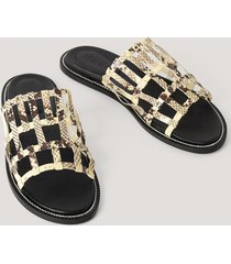 na-kd shoes leather cage slippers - multicolor