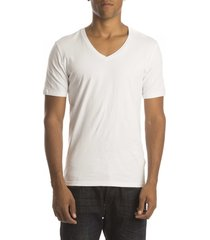 petrol t-shirt stretch v-hals white( 2p)