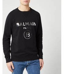 balmain men's silver mirror sweatshirt - noir - xl