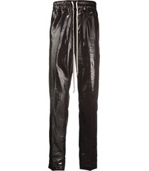 rick owens patent track trousers - brown