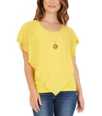 bcx juniors' crisscross popover top with necklace