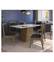 conjunto mesa com base e cadeiras mdf ameixa negra e preto