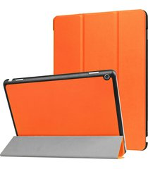 para huawei mediapad m3 lite 10 custer textura de funda de cuero flip horizontal con 3-folding titular y dormir / despertar (naranja)