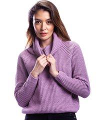 suéter cuello vuelto morado para dama