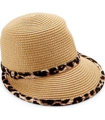 leopard-print trim straw hat