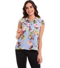 blusa floral gravatinha feminina