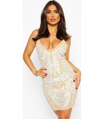 feature front print strappy mini dress, camel