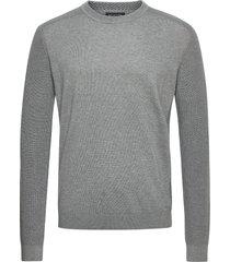 slhallen crew neck b camp stickad tröja m. rund krage grå selected homme