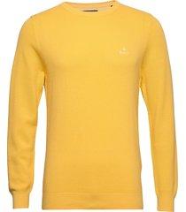 cotton pique c-neck gebreide trui met ronde kraag geel gant