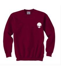 alien pocket printed on unisex crewneck sweatshirt maroon size s to 3xl