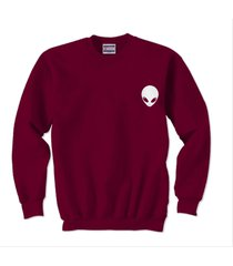 alien pocket printed on unisex crewneck sweatshirt maroon size s to 3xl