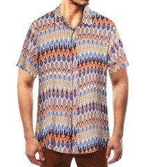 camisa bohemia con estampado tribal de vacaciones de playa en algodón multicolor para hombres