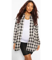 maternity brushed oversized flannel shirt, charcoal