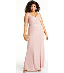 city studios trendy plus size allover-glitter v-neck gown