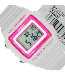 reloj casio digital w-215h-7a2 blanco con rosado