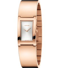 calvin klein women's polish rose gold-tone pvd bangle bracelet watch 22mm