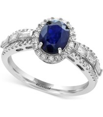 effy royale bleu sapphire (1-3/8 ct. t.w.) and diamond (1/2 ct. t.w.) ring in 14k white gold, created for macy's