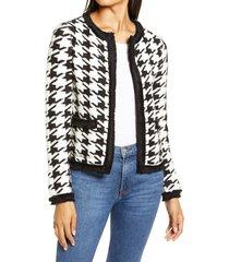 women's halogen marl houndstooth knit jacket, size medium - black