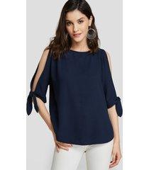 azul marino diseño redondo cuello blusa con mangas recortadas