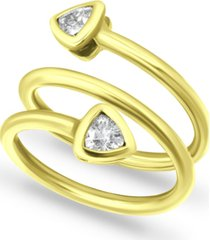 giani bernini cubic zirconia trillion bezel wrap ring in 18k gold-plated sterling silver, created for macy's