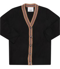 burberry black cardigan for babykids with iconic stripes