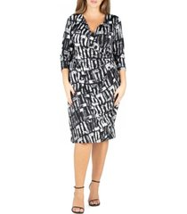 24seven comfort apparel women's plus size faux wrap dress