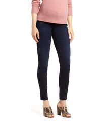 women's 7 for all mankind b(air) high waist ankle skinny maternity jeans, size 33 - blue