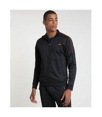 jaqueta masculina esportiva ace com recorte estampado de folhagem gola alta preta